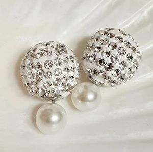 ⚪💎Double-Sided Pearl Rhinestone Earrings💎⚪